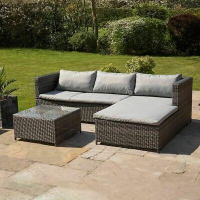 Garden Furniture - Wido RATTAN GARDEN FURNITURE SET CORNER SOFA GLASS TABLE GREY OUTDOOR COMFORT