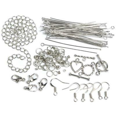 134 Jewelry Findings Lot Starter Kit Headpins Chain Ear Wires Jump Rings Toggles for sale  Shipping to India