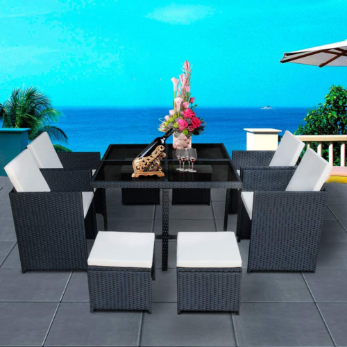 Garden Furniture - 9PCS Patio Ratten Garden Furniture Set Table & Chair Sofa cushion Outdoor indoor