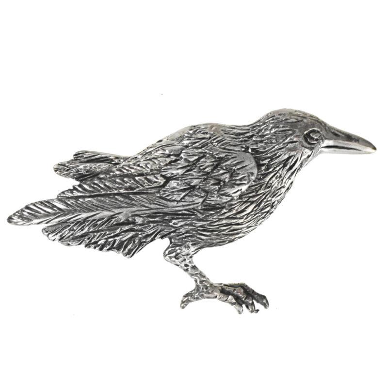 Sterling Silver Raven Brooch Pin - Crow Corvid Bird Animal Totem Avian Jewelry