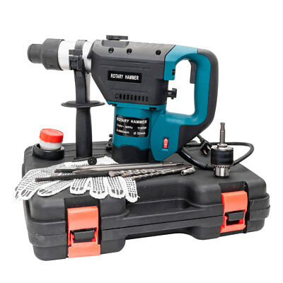 "1-1/2"" SDS Electric Rotary Hammer Drill Demolition Variable Speed w/Bits Blue"
