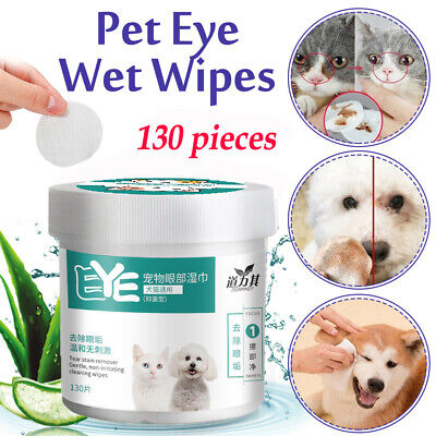 130Pcs Pet Eye Wet Wipes Dog Cat Grooming Tear Stain Remover Clean Wet Towel UK