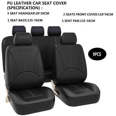 9pcs 5 Seats Universal Car Seat Covers Full Protect PU Leather Cushions Black