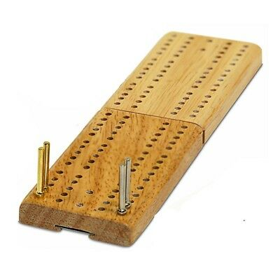 Folding Mini Travel Cribbage Board Wood w Metal Pegs Vintage Classic Family Game - Board Game Family