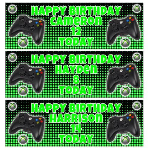 XBOX Personalised Birthday Banner - Microsoft Xbox Birthday Party Banner