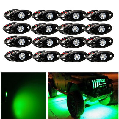 16pcs Green Waterproof Off Road LED Rock Light Replacement Under-Carriage Dock