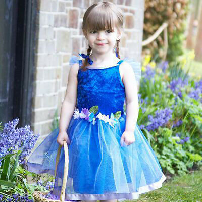 Kleine Fee Kleinkind Kostüme (Baby Mädchen Kleinkinder Qualität Maskenkostüm Blumen Fee Blaues Kleid 18-24)