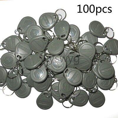 100pcs 125khz Rfid Proximity Gray Grey Tag Token Keyfob A Part Of Access Control