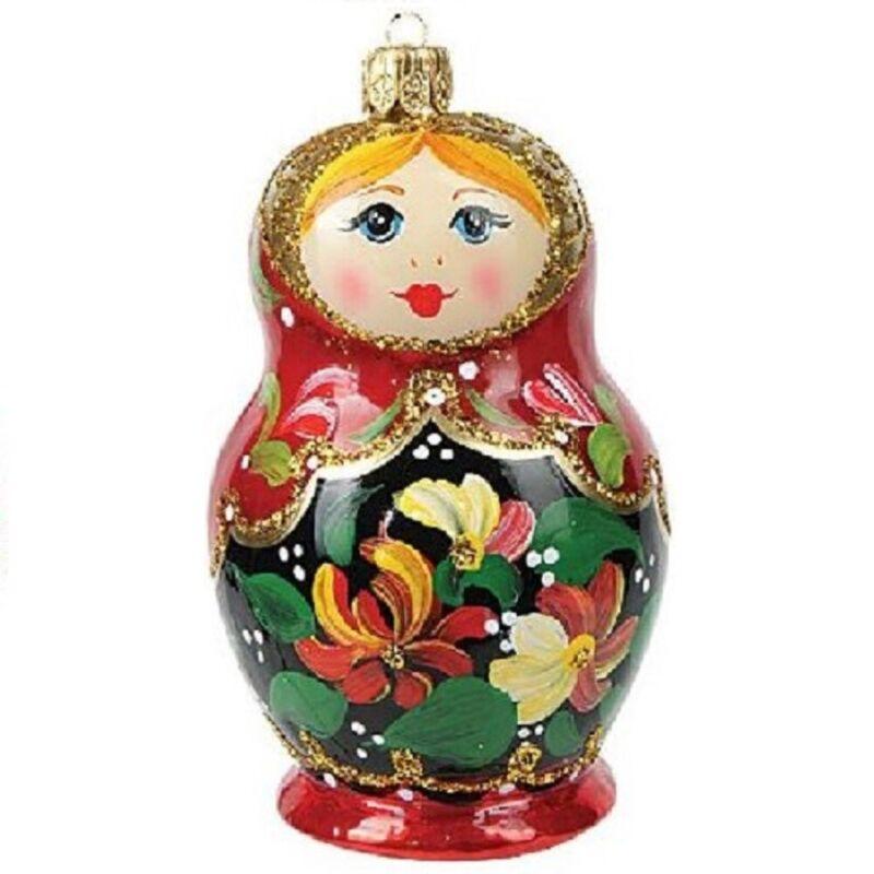 Matryoshka Nesting Doll Polish Glass Christmas Ornament Made Poland Decoration
