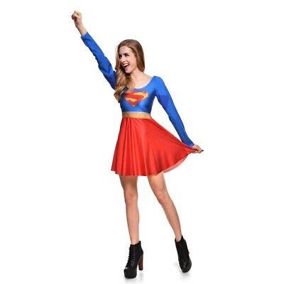 Superman/Supergirl Skater Dress, Cosplay, Size S-4XL UK Seller, - Supergirl Cosplay Kostüm