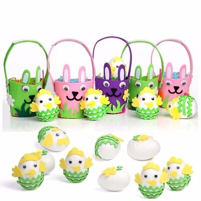 DIY Easter Eggs Basket Handmade Felt Foam Craft Bunny Ornaments Gift Decorations - Halloween Gift Baskets Diy