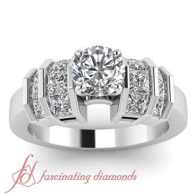 2 Ct Round And Princess Cut Womens Diamond Engagement Rings Channel Set 14K GIA 1
