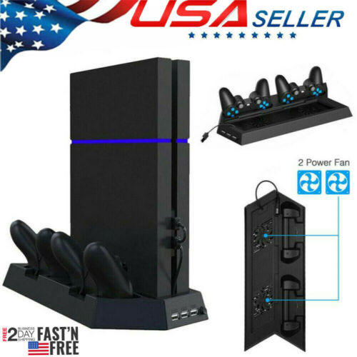 PS4 Cooling Station Vertical Stand with 2 Controller Charging Dock PlayStation 4