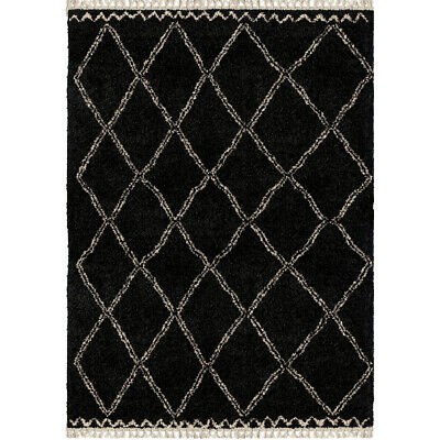 Orian Black Diamonds Blocks Boxes Angled Contemporary Area Rug Geometric 5000 ()