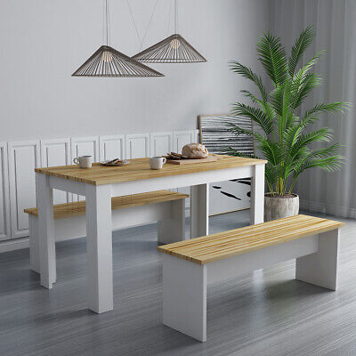 Solid Wood Dining Table Chairs 2 Bench Set Kitchen Dining Room Home Furniture