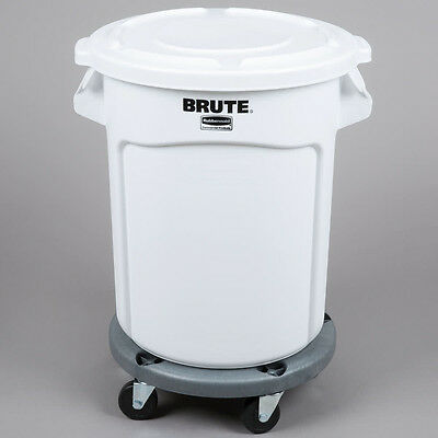 Rubbermaid Brute 20 Gallon White Ingredient Bin Trash Can Lid And Dolly Kit