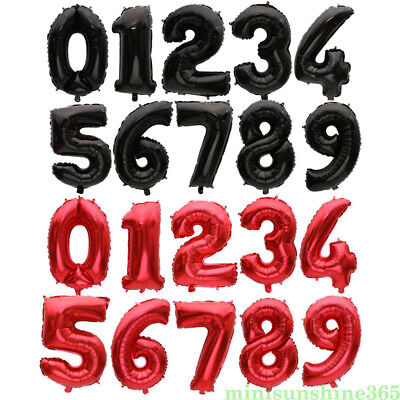 32 Inch Number Balloons Red/Black Birthday Wedding Party Decorative Balloons