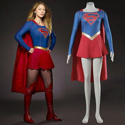 Beliebte Superwoman Cosplay Kurze Rock mit Umhang Anzug Halloween Party Kostüm