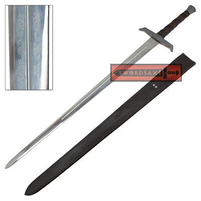 King Arthur Excalibur Sword Inscribed Full Tang Steel Blade Replica Scabbard