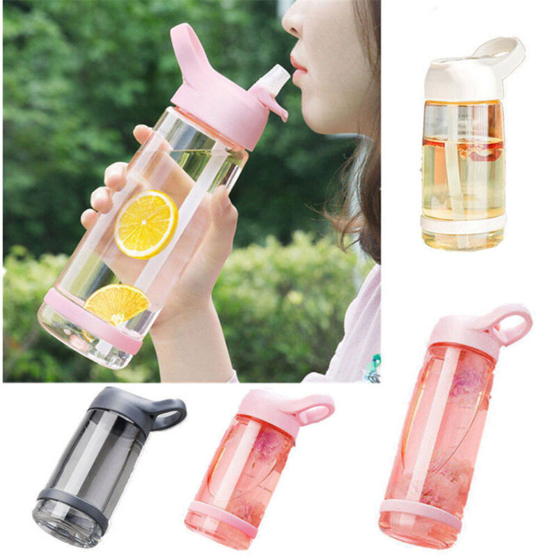 Cycling Hiking Plastic Bicycle Cup Water Bottle Home Kitchen Straw Drinking