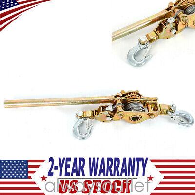 2 Ton Hand Puller Come Along Cable Hoist Hooks 4400lb W Heavy Duty Metal Gear