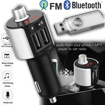 FM Transmitter Bluetooth Car Wireless Hands Free Kit Adapter USB Quick Charger Fm Hands Free Car