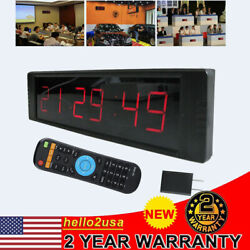 Large Modern Digital Wall Clock Timer 24/12 Hour Display Countdown IR Control US