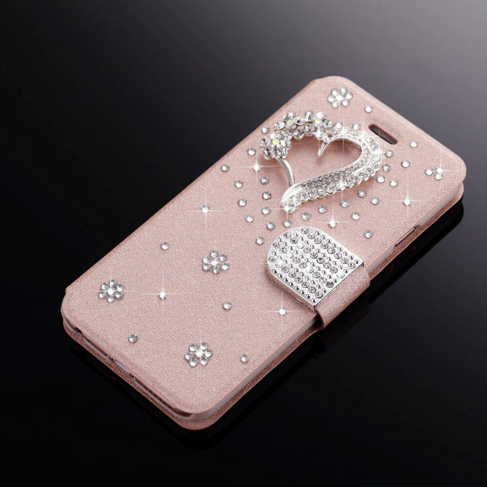 glitter bling diamond magnetic flip wallet case
