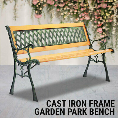 Garden Furniture - Garden Park Bench, Cast Iron, Hardwood, Garden Outdoor Furniture Lounge Chair