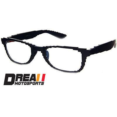 PIXEL BLACK FRAME NERD GEEK NON PRESCRIPTION CLEAR LENS EYE GLASSES FASHION NEW - Pixel Nerd Glasses