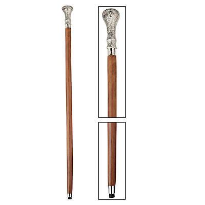 Elegant Walking Sticks - Elegant Artistic Chrome Knob Polished Hardwood Cane Walking Stick