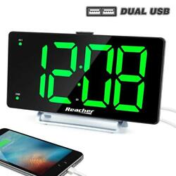 K-star Large Alarm Clock 9 LED Digital Display Dual with USB green