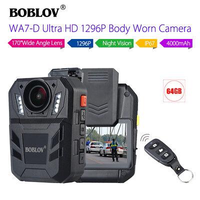 BOBLOV 64GB Police Officer body worn camera 1296P Video Recorder IR Night Vision for sale  USA