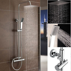THERMOSTATIC SHOWER MIXER COMPLETE UNIT CHROME BATHROOM BATH TWIN HEAD SQUARE S3