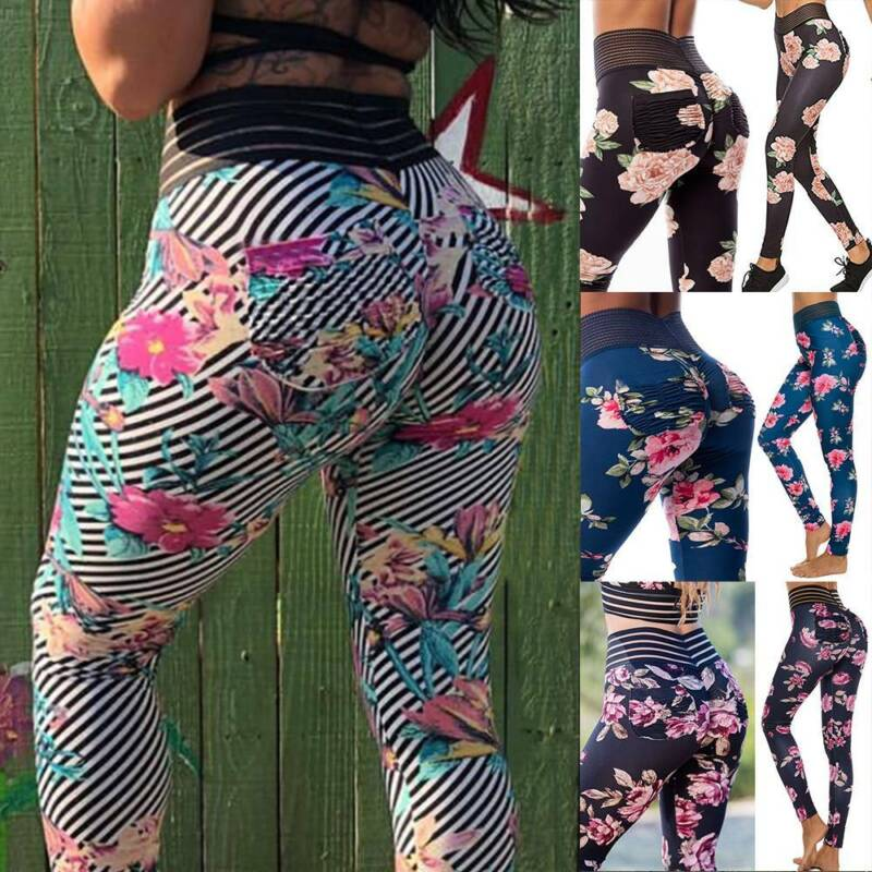 Womens High Waist Yoga Pants Push Up Leggings Ruched Fitness