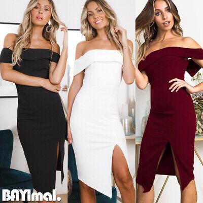 Womens Off Shoulder Split Midi Dress Ladies Evening Party Cocktail Bodycon Dress