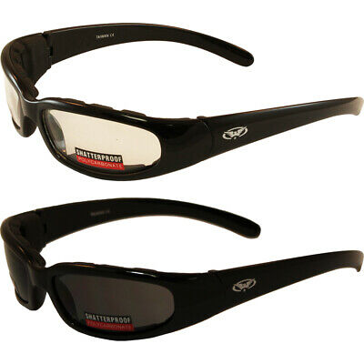 2 Pair Padded Motorcycle Riding Glasses Day and Night 1 Clear 1 (Day And Night Motorcycle Glasses)