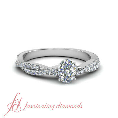 1.25 Ct Oval Shaped Diamond Twisted Band White Gold Engagement Ring Pave Set GIA