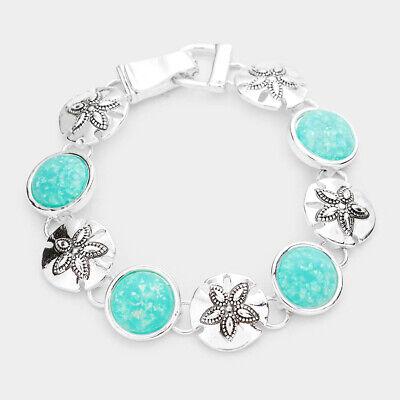 Sea Glass Bracelet Magnetic Closure Sand Dollar Filigree Jewelry SILVER TURQ ()