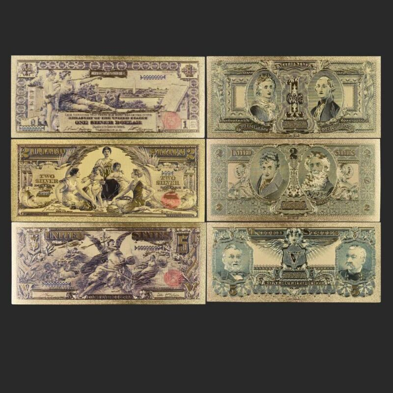 3pcs 1896 Year 24k Gold Banknote Set Usd 1 2 5 Creative Colorful Bill Note
