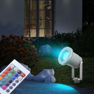 RGB LED Spot Außenstrahler Hof Stecklampe Fernbedienung DxH 9,2x31,5 cm dimmbar