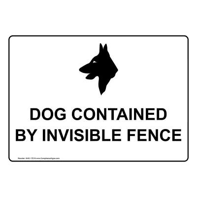 Dog Contained by Invisible Fence Sign, 10x7 in. Aluminum for Pets/Pet Waste Aluminum Dog Fence