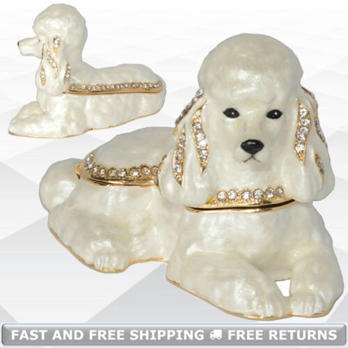 Poodle Dog Pewter Mini Hinged Enamel Ring Trinket Box Jeweled Crystals Ornament