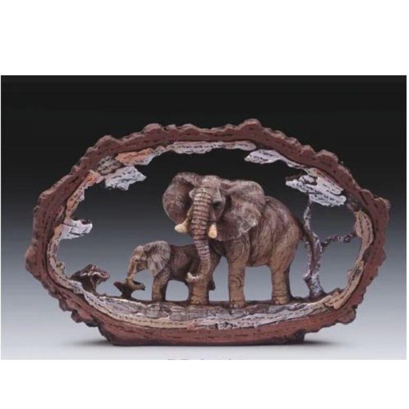Elephant In Tree Frame Figurine New