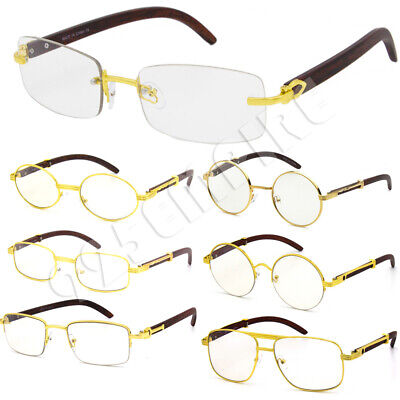 Men Clear Lens Eye Glasses Gold Designer Wood (Clear Plastic Frame Glasses)