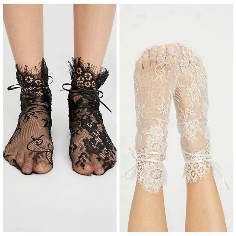 Women Transparent Ribbon Fishnet Socks Hollow Out Mesh Hosiery Eyelash Lace