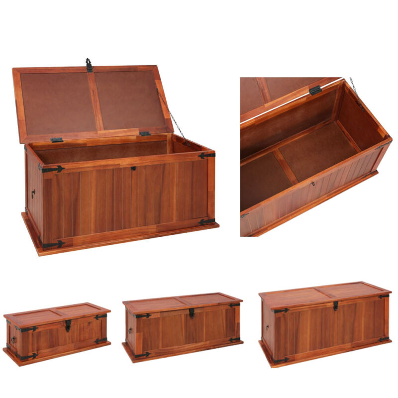 Chest Storage Solid Acacia Wood Bedroom Large Box Blanket Books Shoes Toys Brown
