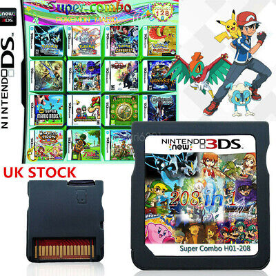UK 208 IN 1 Video Game Cartridge for NDS NDSL 3DS 3DSLL/XL NDSI Pokemon Mario