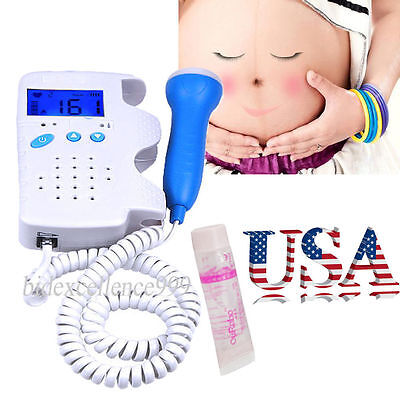 Lcd Fetal Doppler 3mhz Probe Baby Heart Monitor Free Gel With Backlight Care Fda