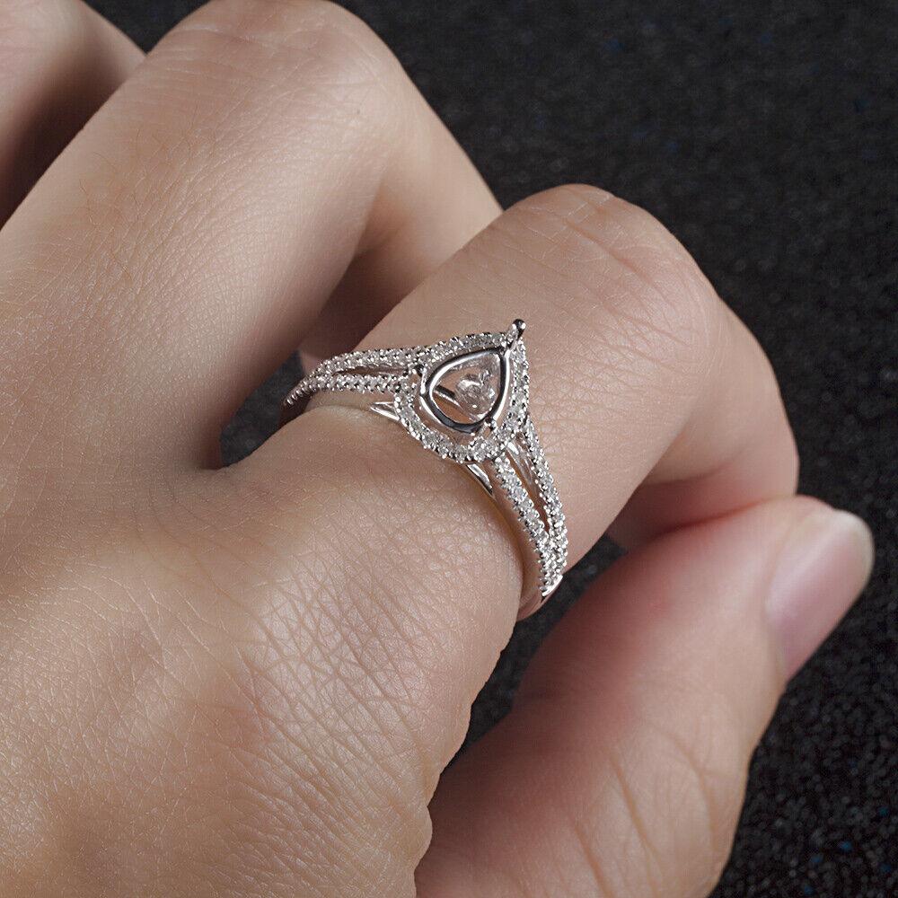 925 Sterling Silver 4x6MM Pear Semi Mount Diamond Engagement Unique ...